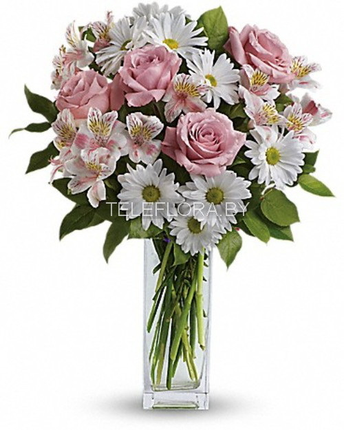 Букет из роз и альстромерии и хризантемы, детского